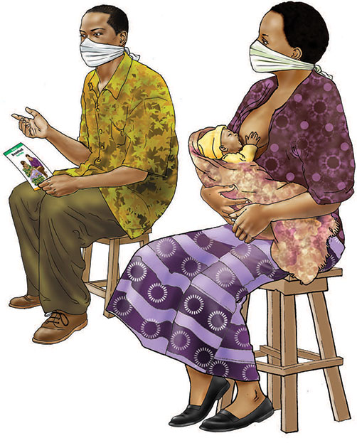 Illustration of a couple with masks