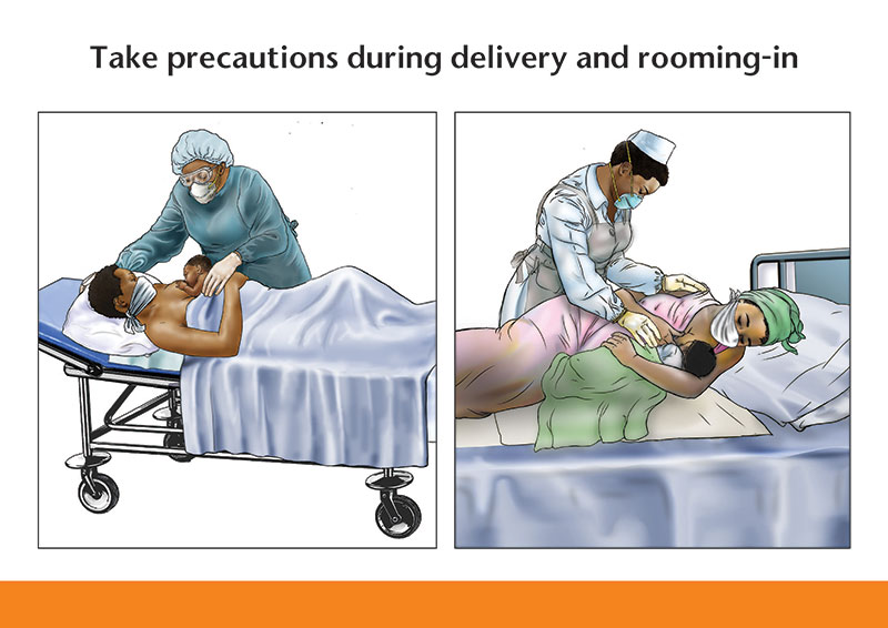 Illustration of Take precautions during delivery and rooming-in