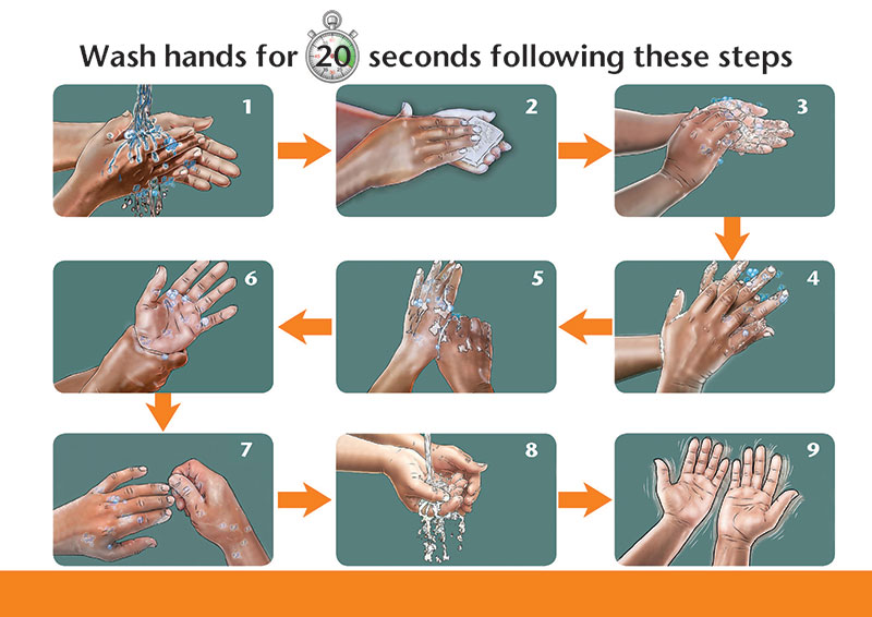 Illustration of Wash hands for 20 seconds following these steps