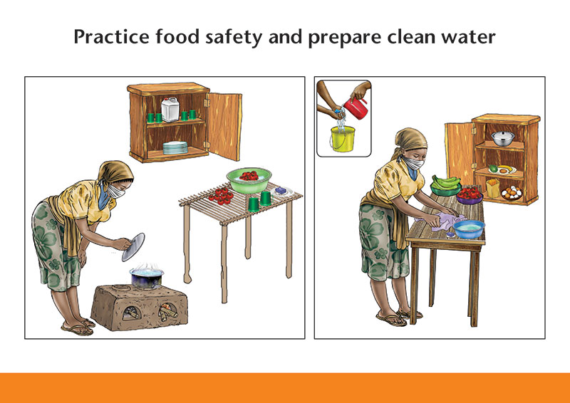 Illustration of Practice food safety and prepare clean water