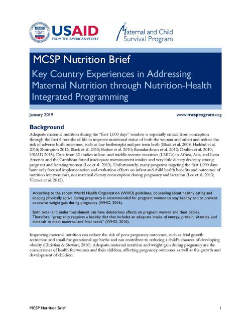 Thumbnail image of MCSP Nutrition Brief: Key Country Experiences in Addressing Maternal Nutrition through Nutrition-Health Integrated Programming