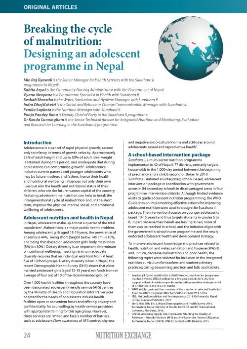 Cover of Breaking the Cycle of Malnutrition: Designing an Adolescent Programme in Nepal
