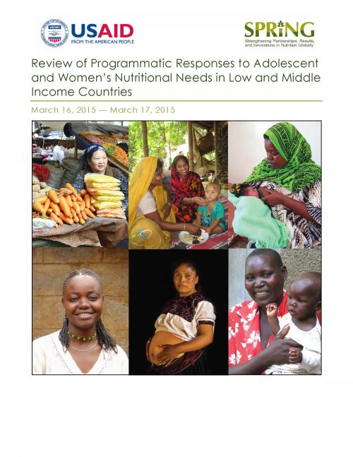Cover of Review of Programmatic Responses to Adolescent and Women's Nutritional Needs in Low- and Middle-Income Countries
