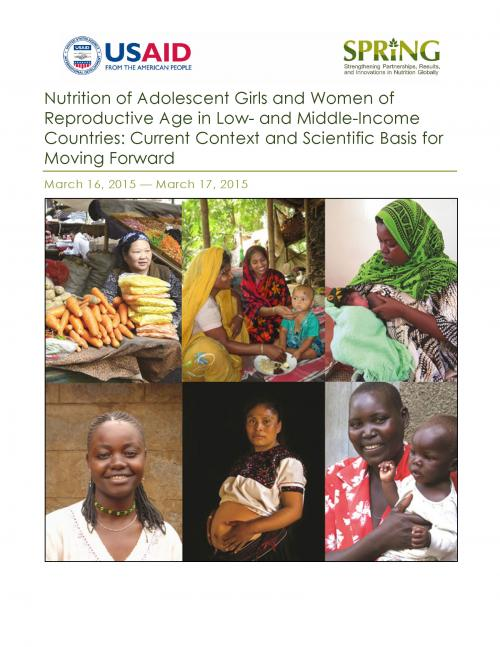 Cover of Nutrition of Adolescent Girls and Women of Reproductive Age in Low- and Middle-Income Countries: Current Context and Scientific Basis for Moving Forward